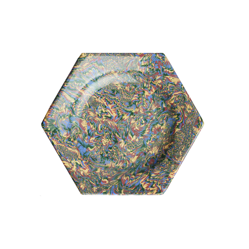 Marbleized Hexagon Plate