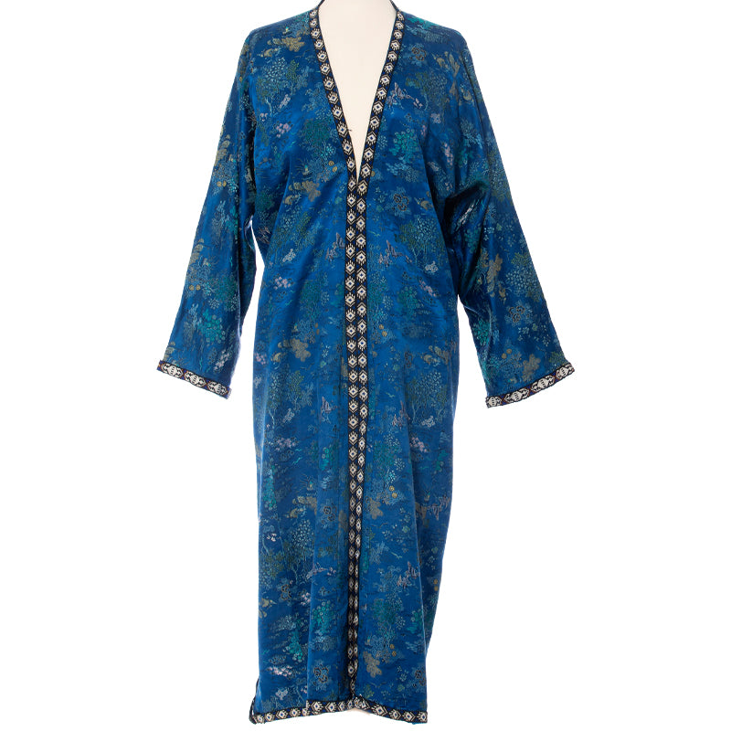 Blue Silk Brocade Caftan