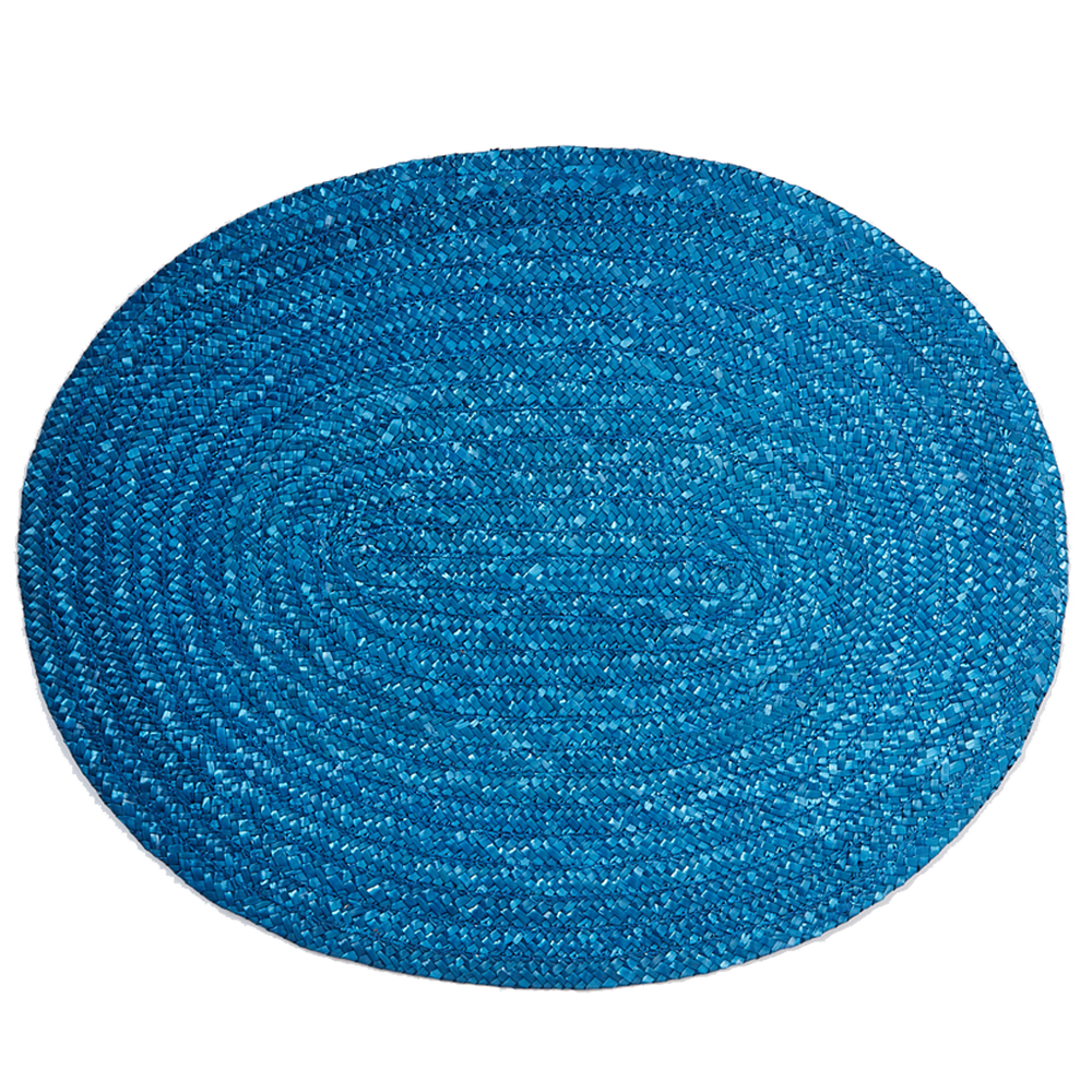 Load image into Gallery viewer, Blue Woven Raffia Placemat