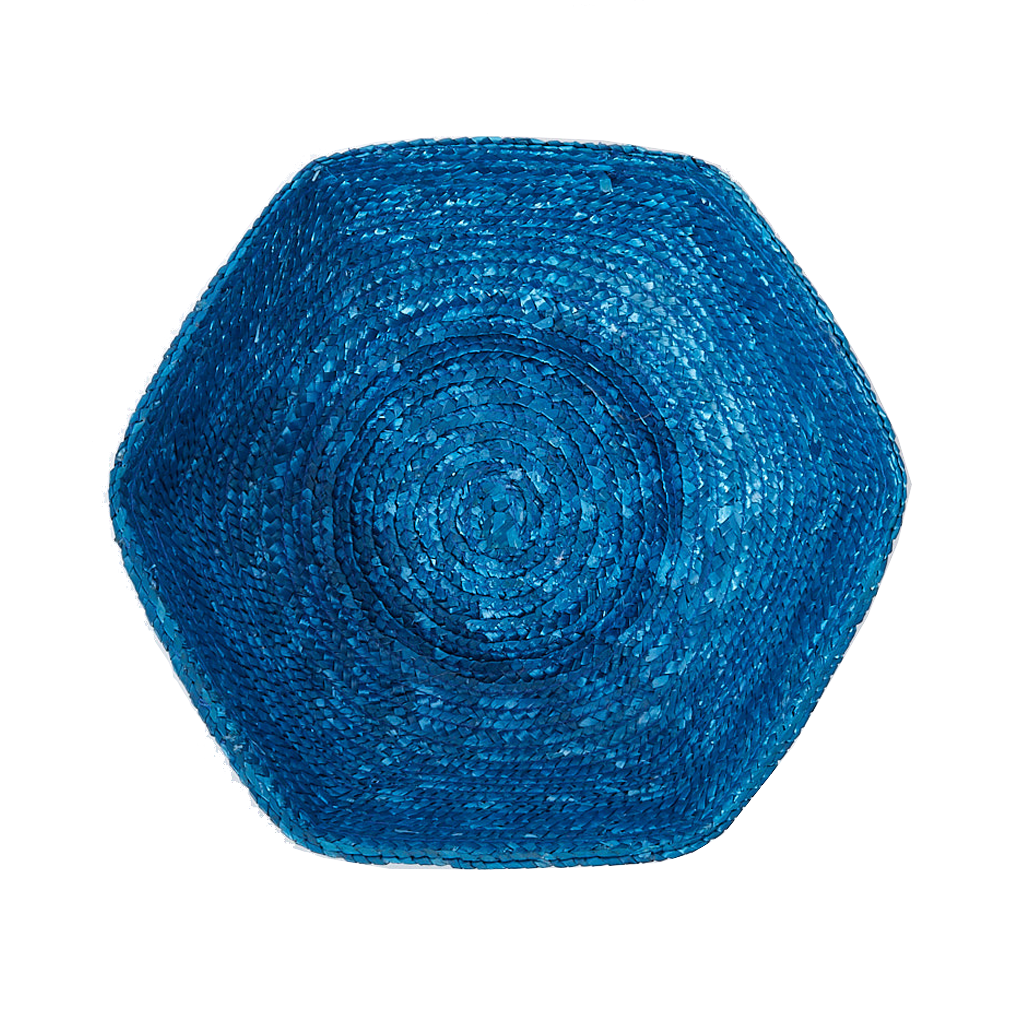 Blue Large Hexagonal Rafia Basket