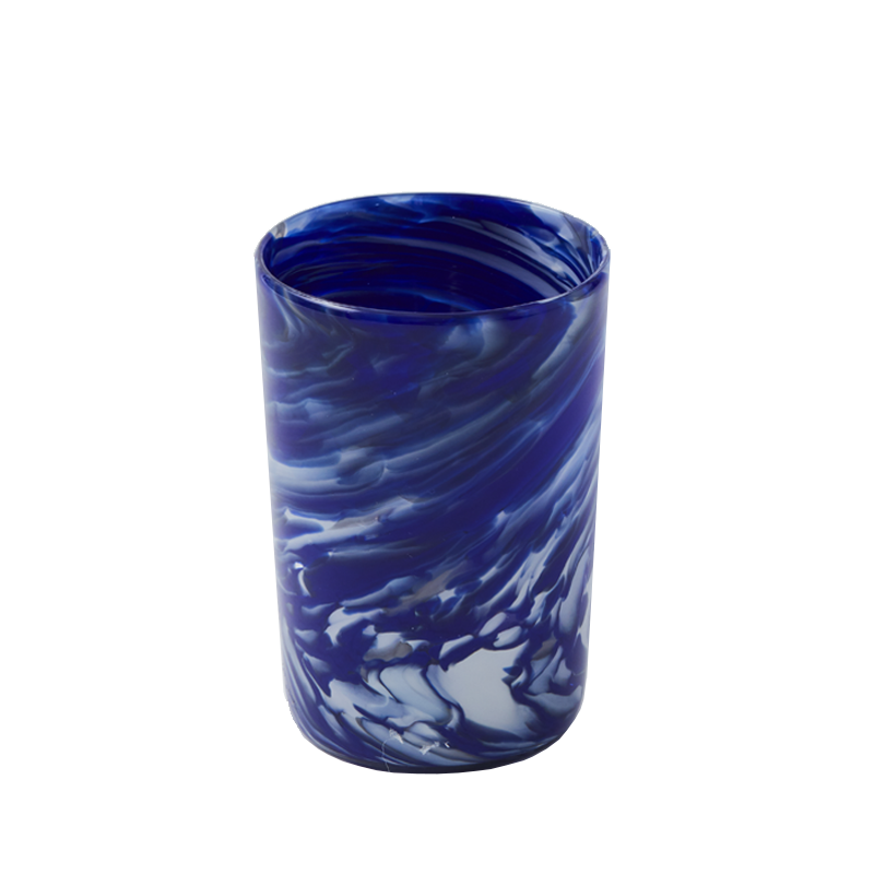 Blue and White Marbleized glass