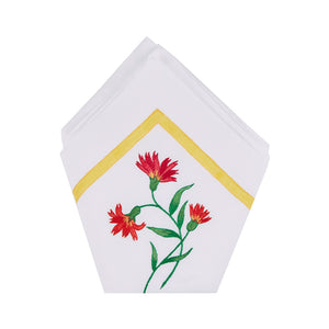 Maria Hand-Embroidered and Painted Napkins, Set of Four
