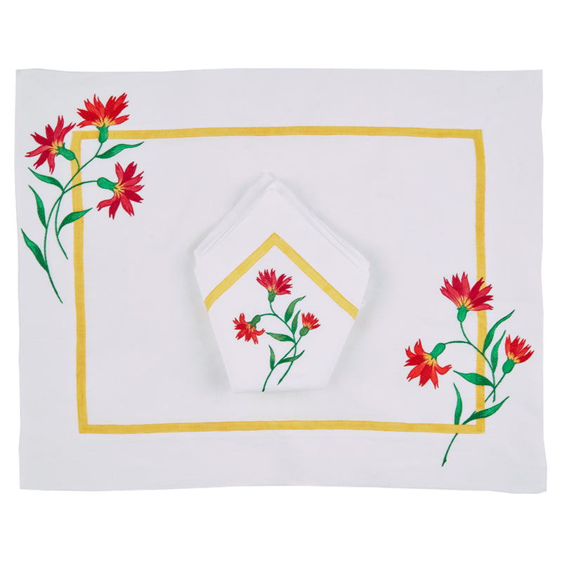 Maria Hand -Embroidered and Painted Napkins, set of four