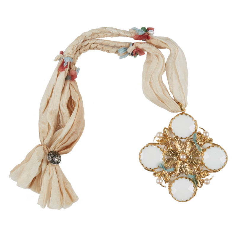 Afghan Necklace White