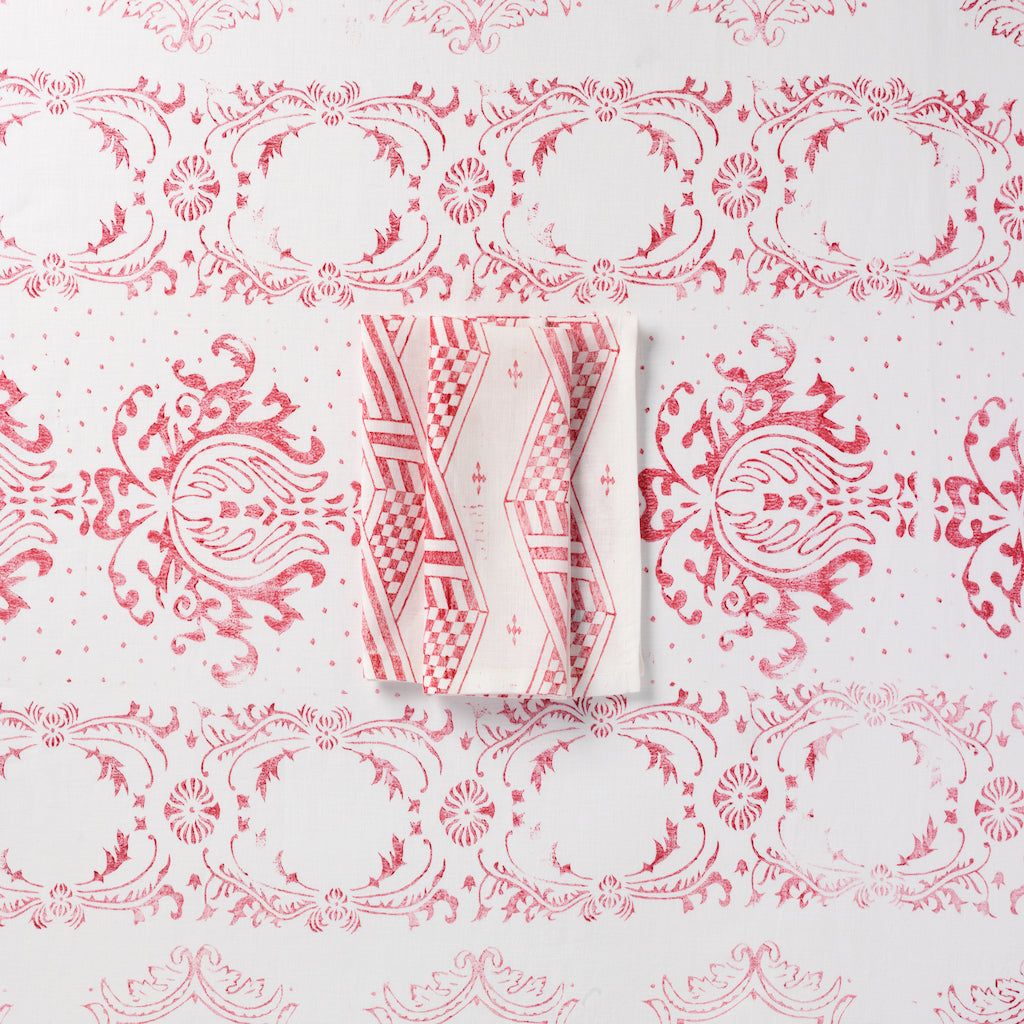 Hand-Printed Linen Napkins, set of four