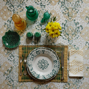 "Load image into Gallery viewer, ""Floral"" Soup Plate Green"