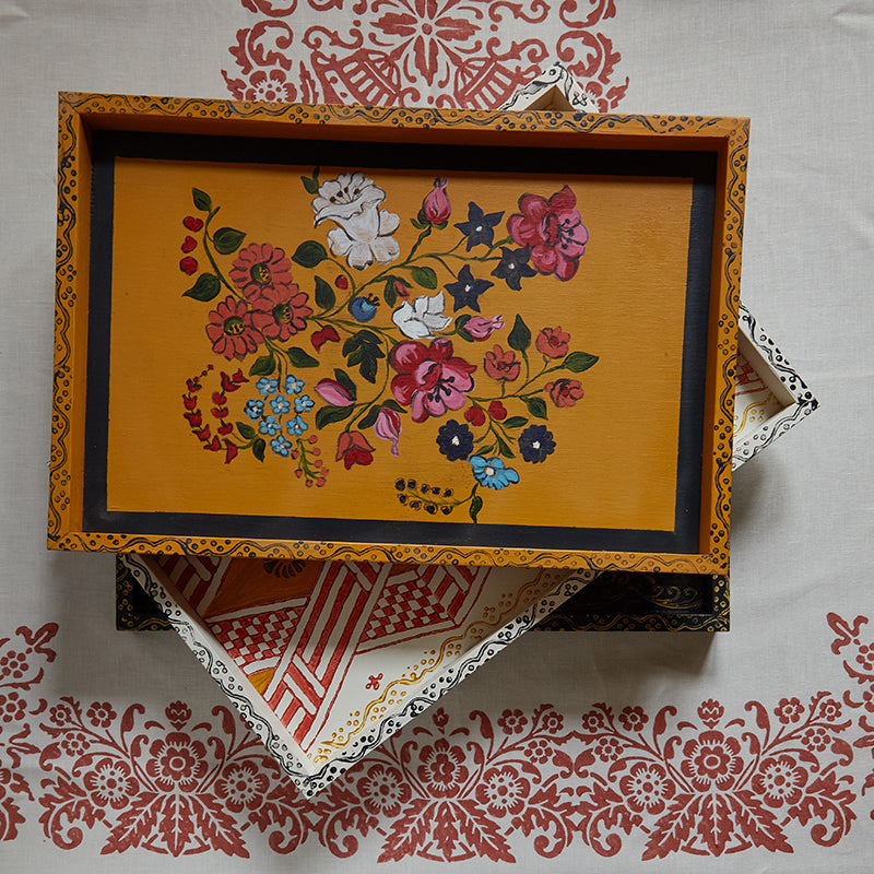 Hand-Painted Floral Tray