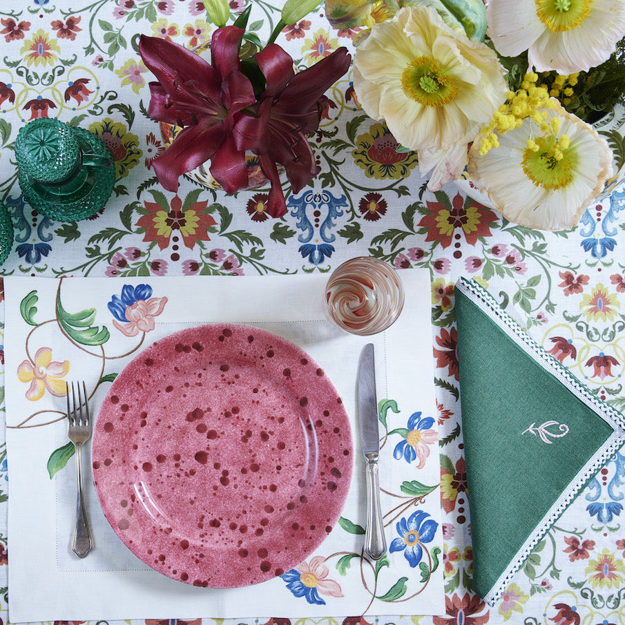 Hand-Embroidered Floral Placemats, set of two