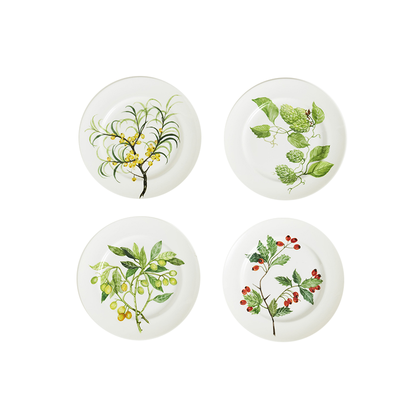Hand-painted Dessert Plates, set of four