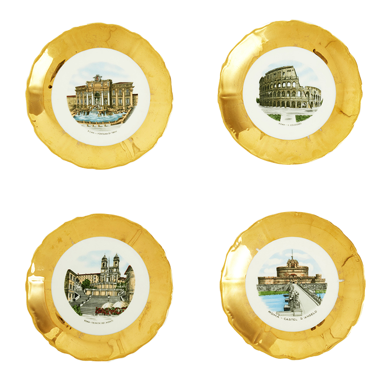 Roman Souvenir Plates, set of four