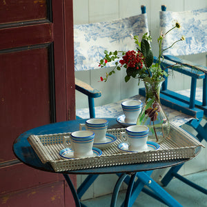 Blue and Gold Rim Coffee Service