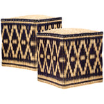 Wicker Stools Black, Set of Two