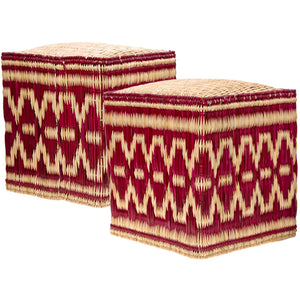 Wicker Stools Burgundy, Set of Two
