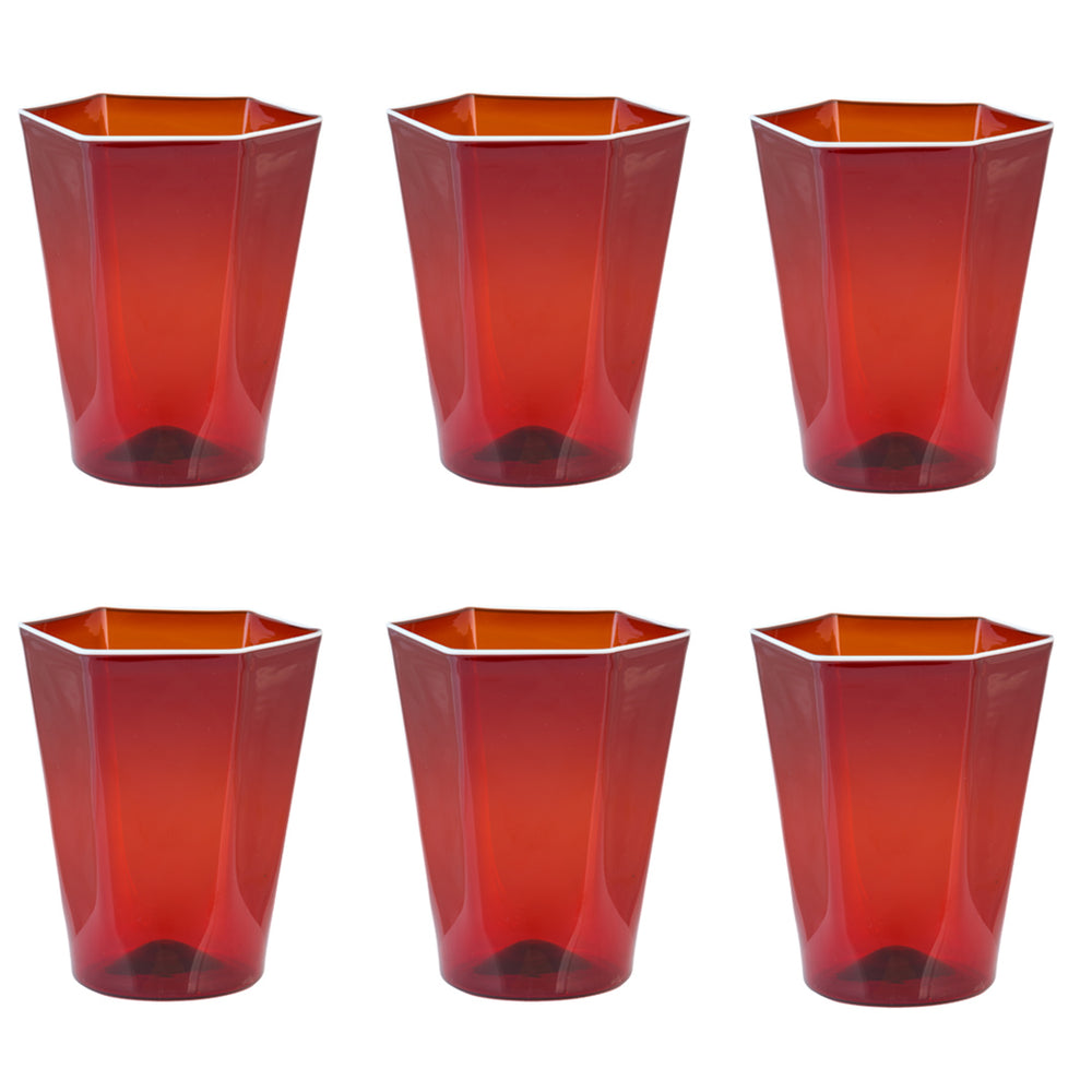 Laguna Glass Red, Set of Six