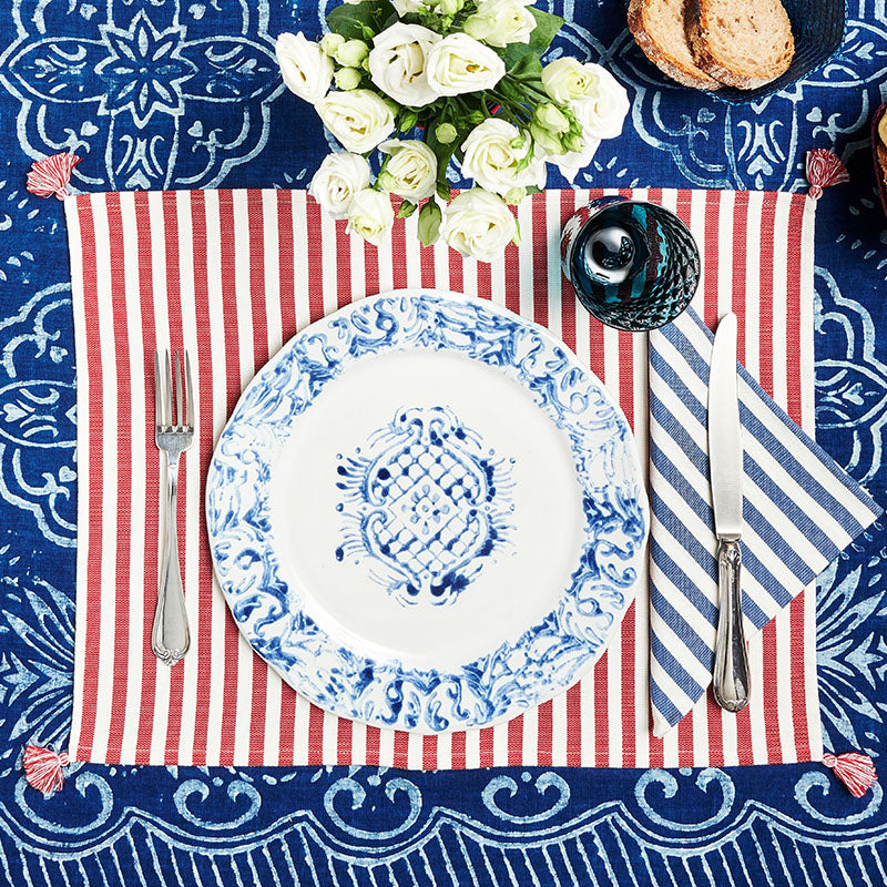Vera Blue Stripe Napkins, Set of Two