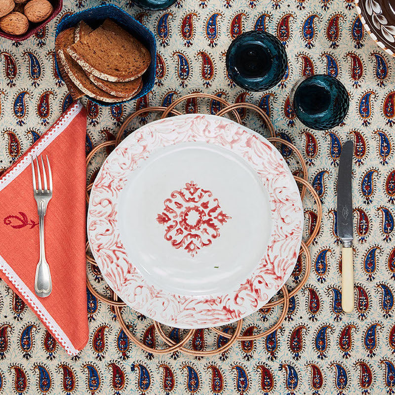 """Floral"" Dinner Plate Red"