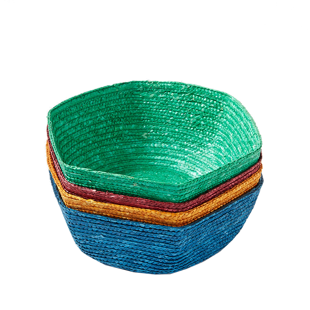 Load image into Gallery viewer, Blue Large Hexagonal Raffia Basket