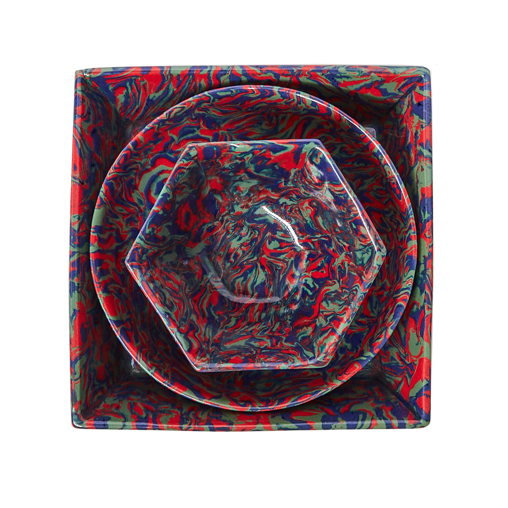 Marbleized Square Bowl