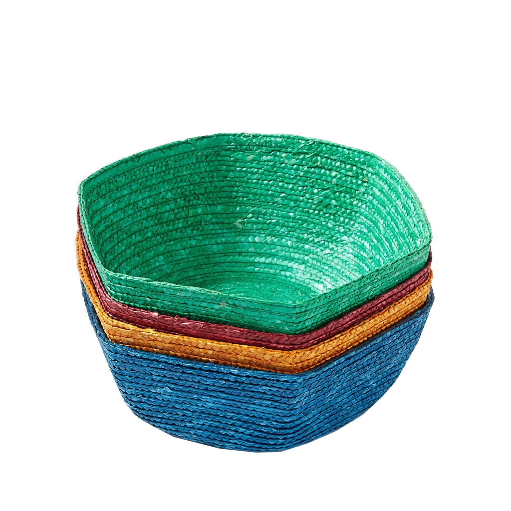 Green Large Hexagonal Raffia Basket