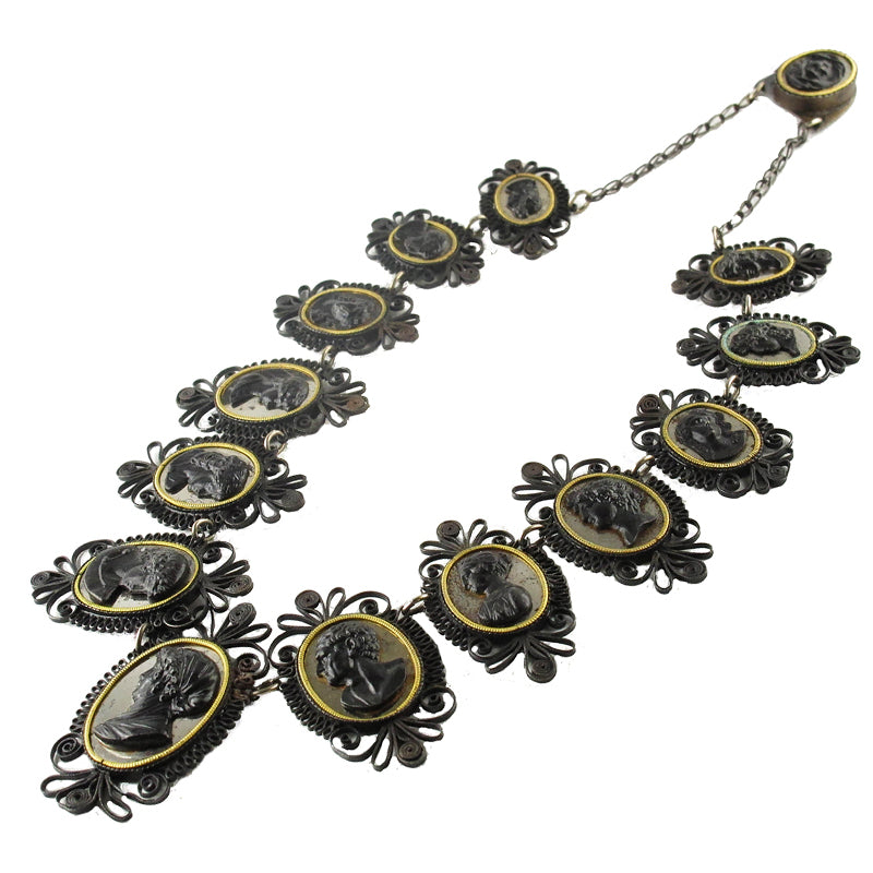 Antique Berlin Iron Cameo Necklace