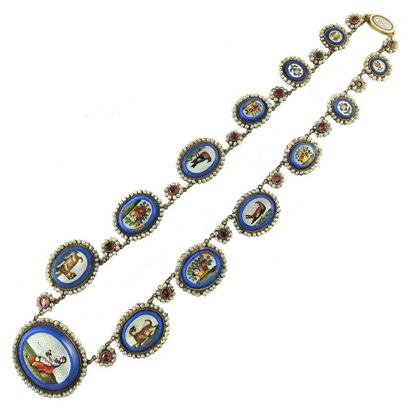 Load image into Gallery viewer, Antique Gold and Micromosaic Necklace