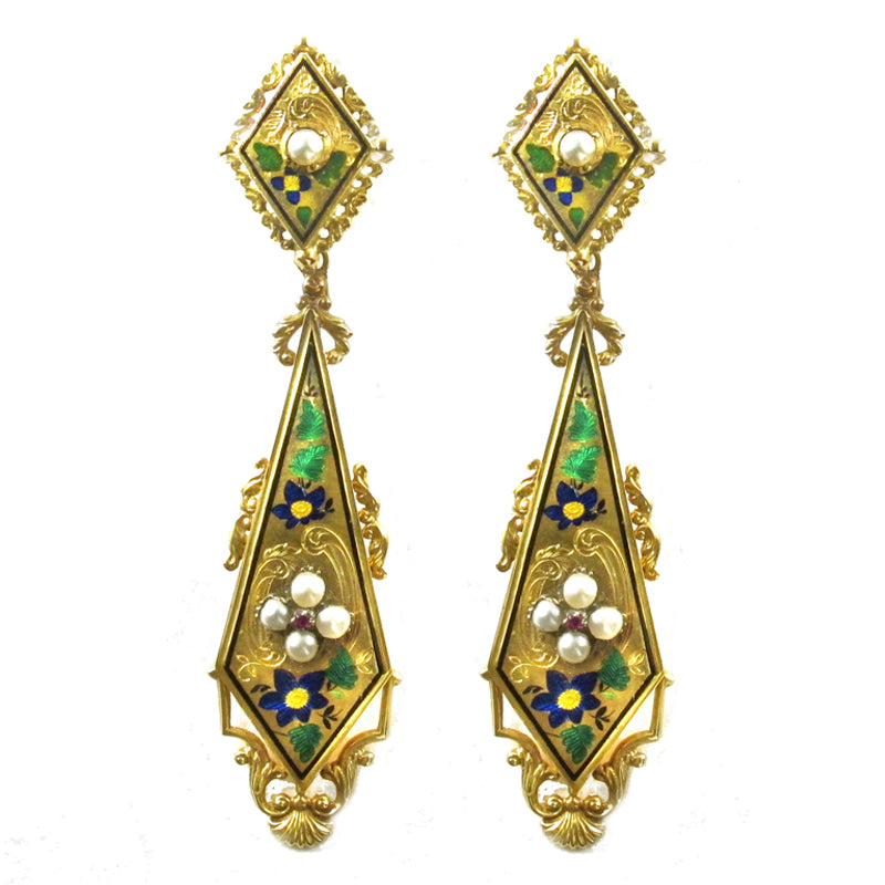 Victorian Gold and Pearl Enameled Earrings