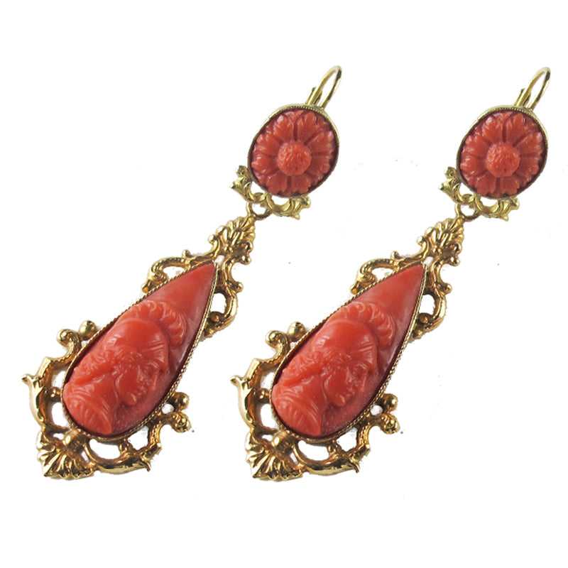 Victorian Gold and Coral Cameo Earrings