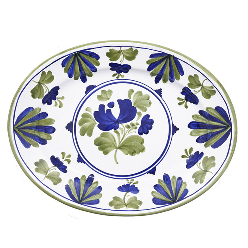 Blossom Oval Serving Plate Blue
