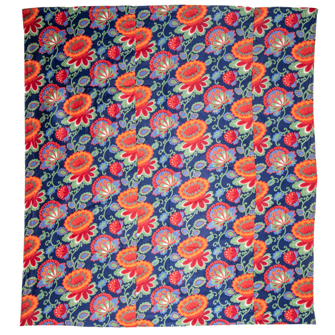 Russian Floral Printed Quilt Top Cover
