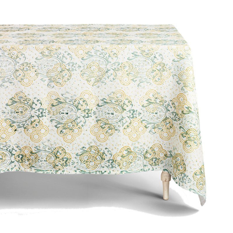 Hand-Printed Square Tablecloth