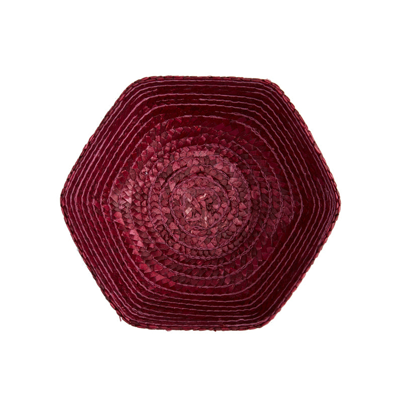 Dark Red Small Raffia Basket