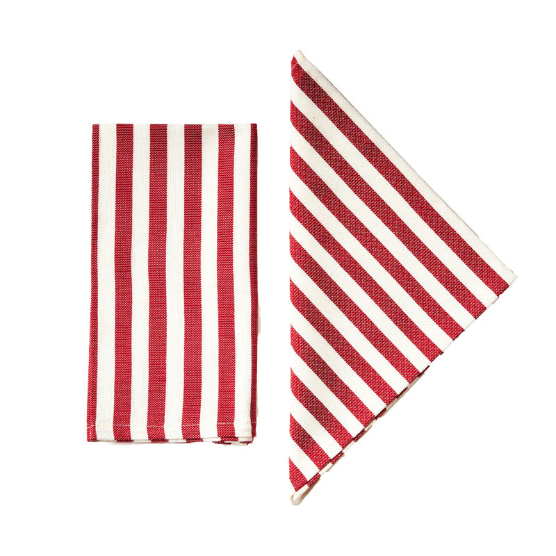 Vera Red Stripe Napkins, Set of Two