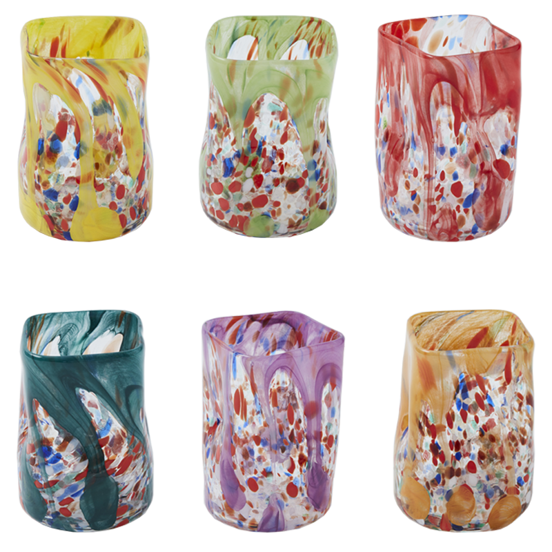 One of a kind Murano glasses, set of six