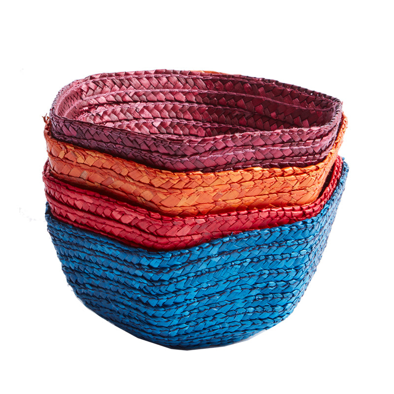 Blue Small Raffia Basket