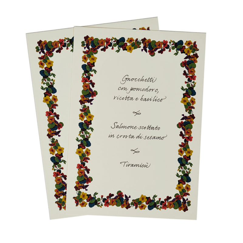Floral Menu Card Set