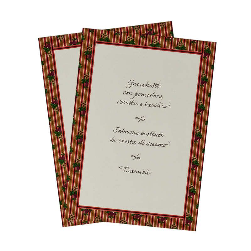 Striped Menu Card Set