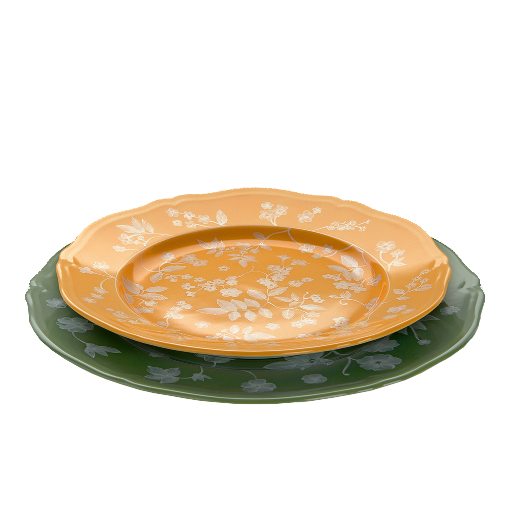 Richard Ginori x Cabana Floral Charger Plates Green, Set of Two