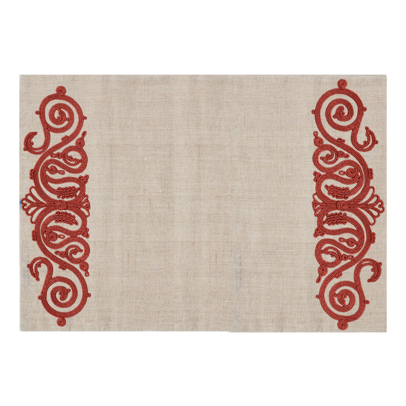 Embroided Placemat Terracotta