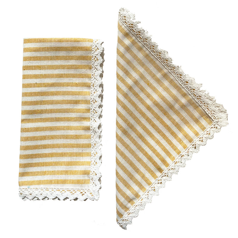 Load image into Gallery viewer, Yellow Striped Napkins, Set of Four