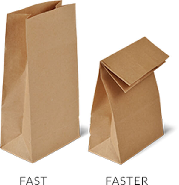 Open Paper Bad - Fast --- Closed paper bag - Faster