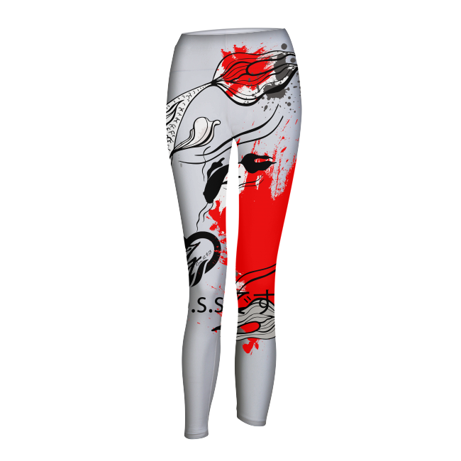 She's The B.O.S.S. Yin and Yang Womens Yoga Pant white