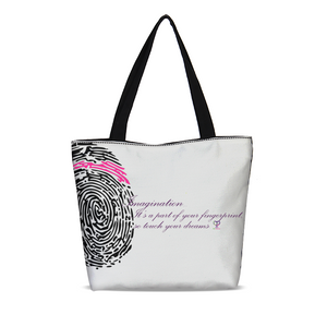 Imagination... A Women's Fingerprint Canvas Zip Tote