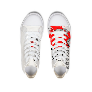 She's The B.O.S.S. Yin and Yang Hightop Canvas Shoe white