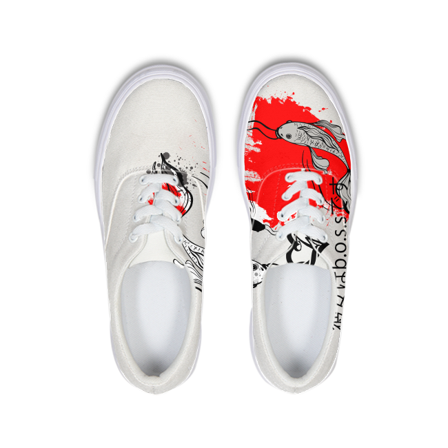 She's The B.O.S.S. Yin and Yang Lace Up Canvas Shoe white