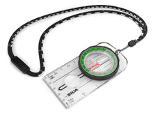 Silva RANGER compass with it's scale lanyard and it's green housing