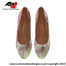 Pink And White Flowers Womens High Heels (044)