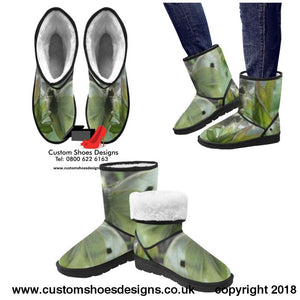 White Butterfly Custom High Top Unisex Snow Boots (047)
