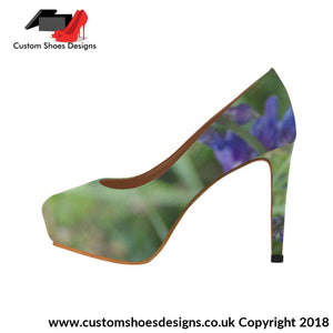 Blue Fowers Womens High Heels (044)