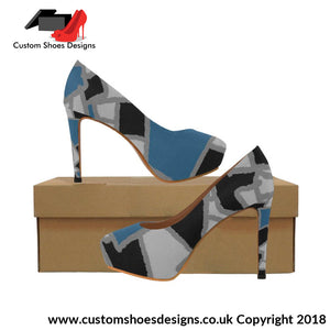 Black And Blue Womens High Heels (044)
