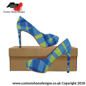 Blue & Green Womens High Heels (044)